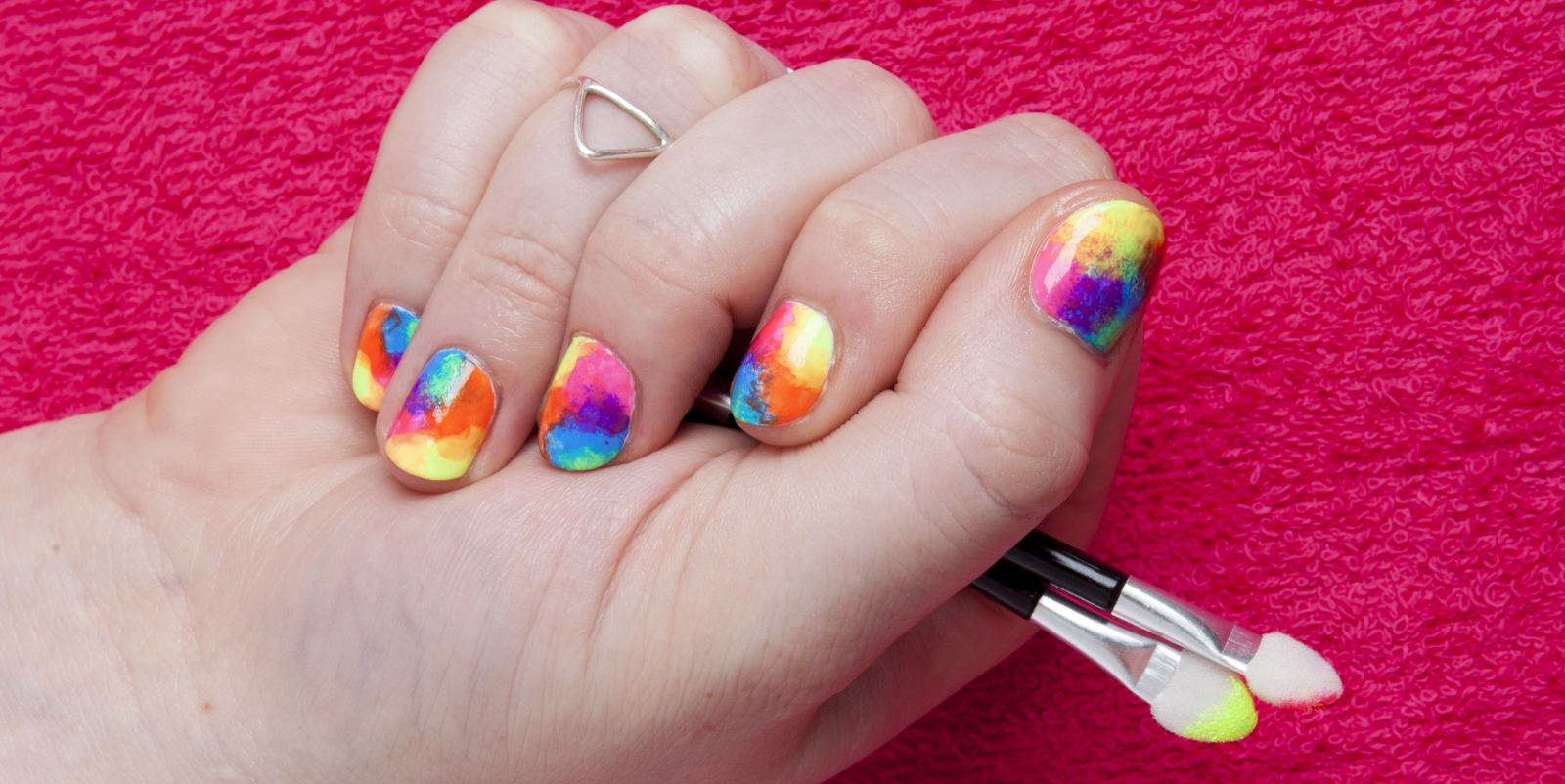 5 easy nail designs beautify themselves with sweet nails diy nail art rainbow tie dye in five easy steps prinsesfo Images
