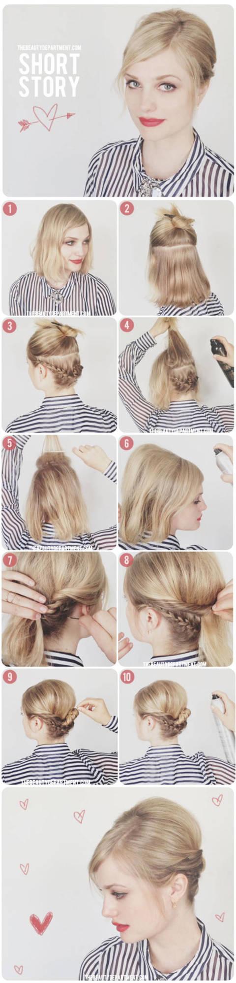 Peachy 8 Lovely Short Medium Hair Tutorials You Should Steal From Pinterest Short Hairstyles Gunalazisus