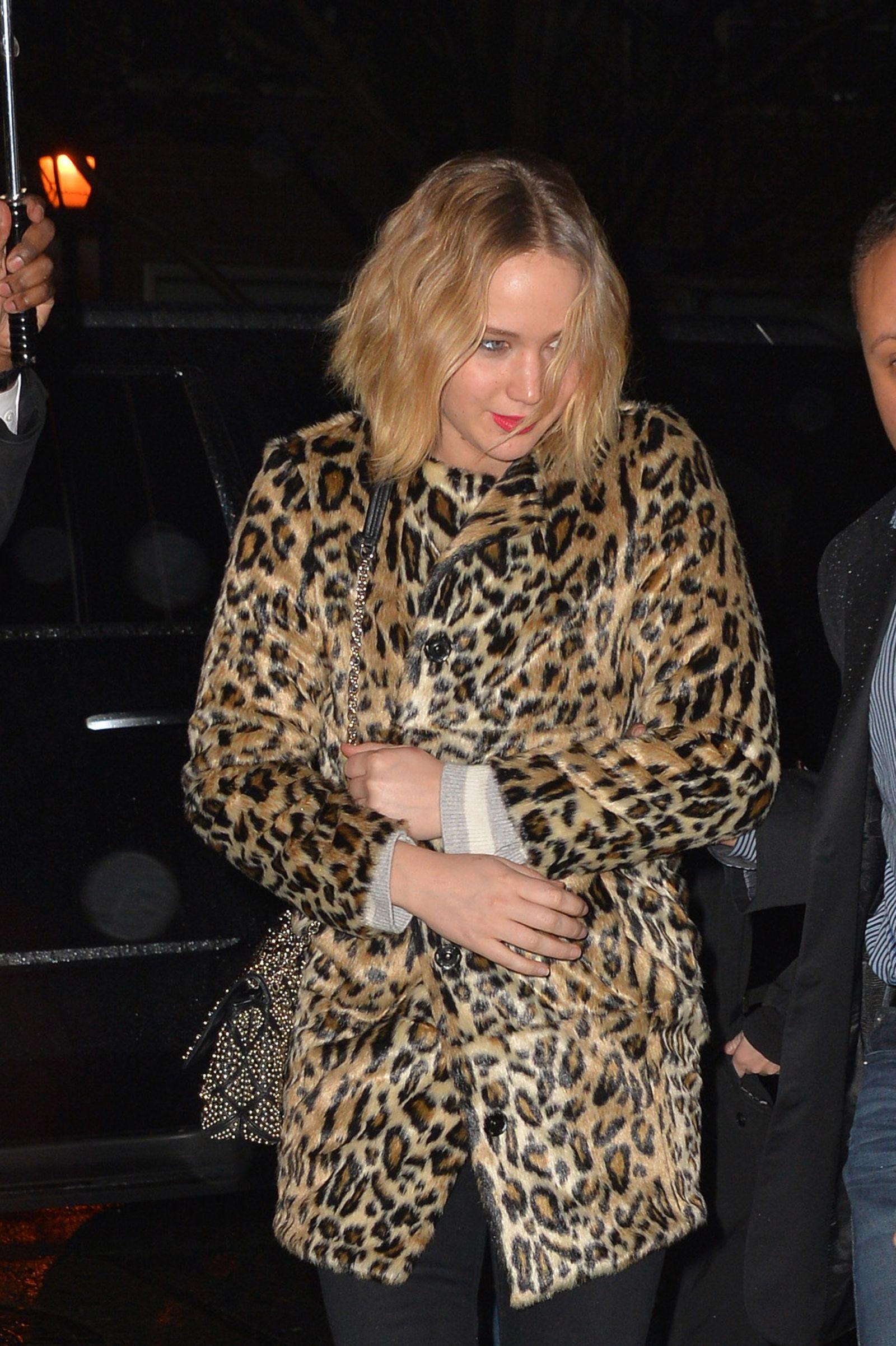 Jennifer Lawrence Wears High Street Faux Fur Coat For Trip