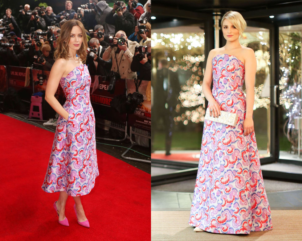 Both Emily and Dianna fell for Osman's frivolous floral dress, with Emily donning the midi length while Dianna plumped for a gown. Beautiful.