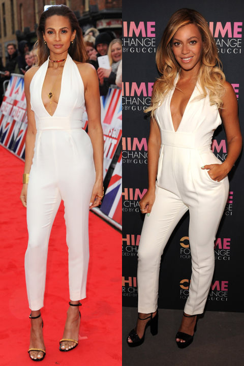 While we think both of these ladies look FAB in this Gucci halterneck jumpsuit, Alesha Dixon's pushed-back hairstyle and super cute jewels wins it for us.