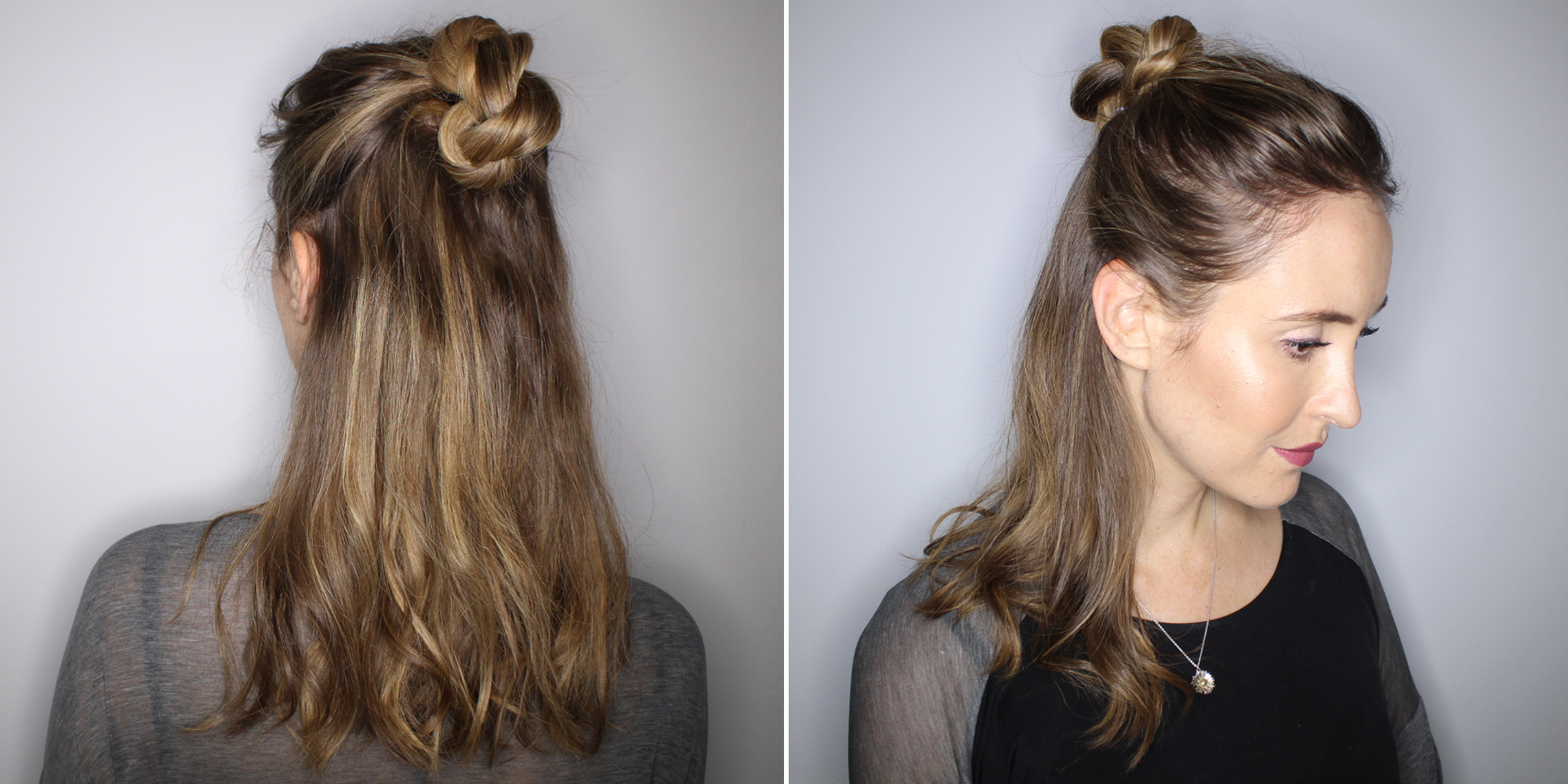 A Half-up Twisted Knot Hair Tutorial