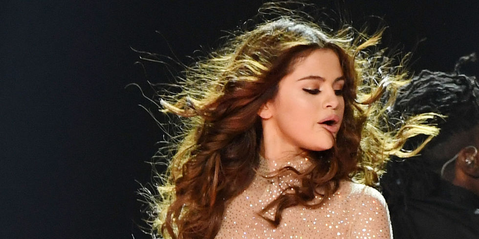 Selena Gomez performing as part of her Revival tour