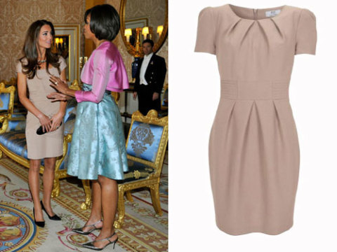 Frenzy in the fashion world when she wore a cream dress by reiss