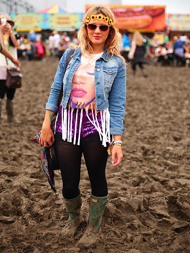 Daisy snapped up this t-shirt from Topman and then customised it by cutting the hem into a fringe. Her spangly shorts were an internet find and her headband is from Primark