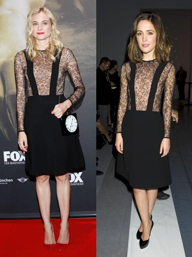 Diane Kruger looked stunning in this sexy lace plunge LBD by Jill Stuart at Munich screening of her television show The Bridge earlier this month, teaming the dress with bright red court pumps and the Charlotte Olympia Timepiece bag, for a quirky edge. Bridesmaids star Rose Byrd, who is a fan of Jill Stuart's dresses on the red carpet, went for a more classic look, pairing her dress with black courts and simple yet chic makeup. Who do you think wore it best?