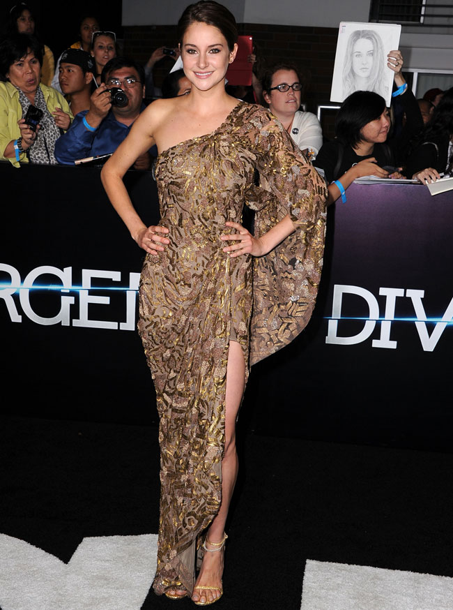 maggie q goes commando at divergent premiere celebrity